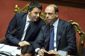 Foto Roberto Monaldo / LaPresse24-02-2014 RomaPoliticaSenato - Fiducia governo RenziNella foto Matteo Renzi, Angelino AlfanoPhoto Roberto Monaldo / LaPresse24-02-2014 Rome (Italy)Senate -  Vote of confidence on Renazi's Government In the photo Matteo Renzi, Angelino Alfano