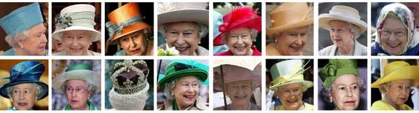 Combo della regina Elisabetta II con alcuni dei suoi copricapi. ANSA